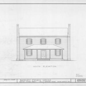 South elevation, Barnabus Jones House, Wake County, North Carolina