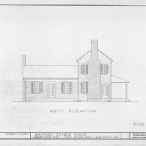 West elevation, Barnabus Jones House, Wake County, North Carolina