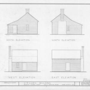 Kitchen elevations, Barnabus Jones House, Wake County, North Carolina