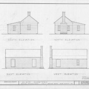 Slave quarters elevations, Barnabus Jones House, Wake County, North Carolina