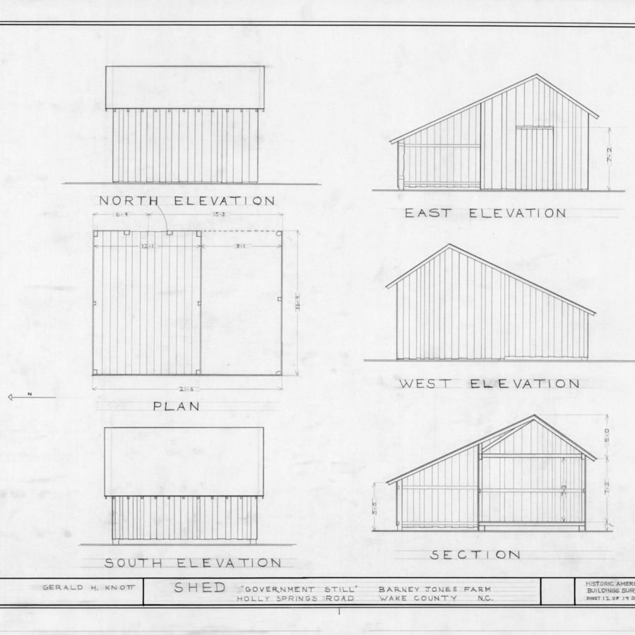 Shed elevations and floor plan, Barnabus Jones House, Wake County, North Carolina