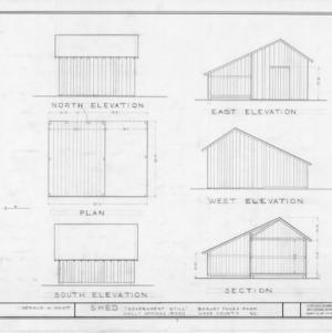 Shed elevations and floor plan, Barnabus Jones House, Wake County, North Carolina