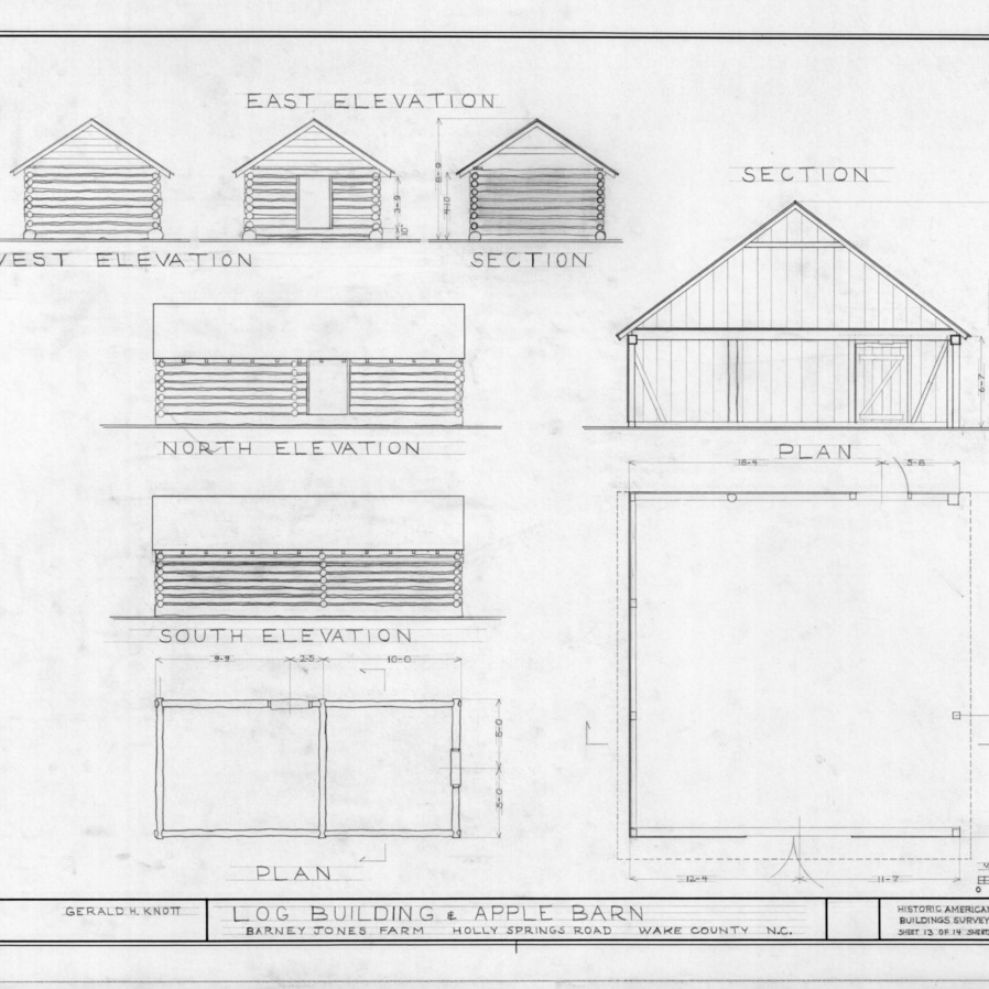 Outbuilding elevations and floor plans, Barnabus Jones House, Wake County, North Carolina