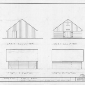 Apple barn elevations, Barnabus Jones House, Wake County, North Carolina