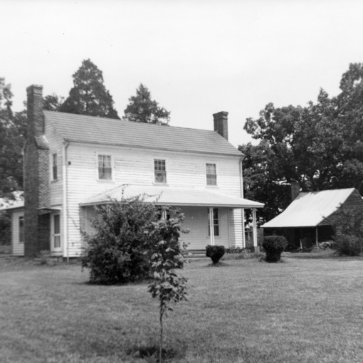 View with outbuilding, Barnabus Jones House, Wake County, North Carolina