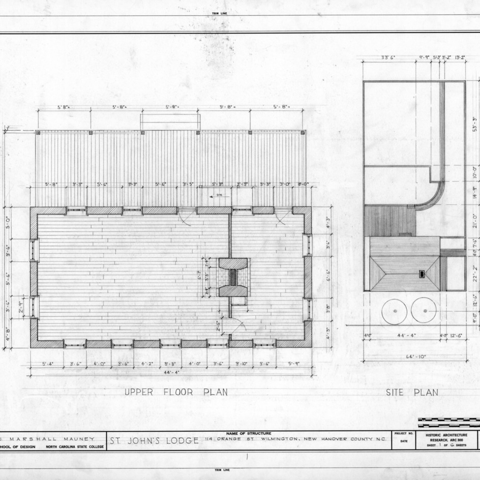 Site plan and second floor plan, St. John's Lodge, Wilmington, North Carolina