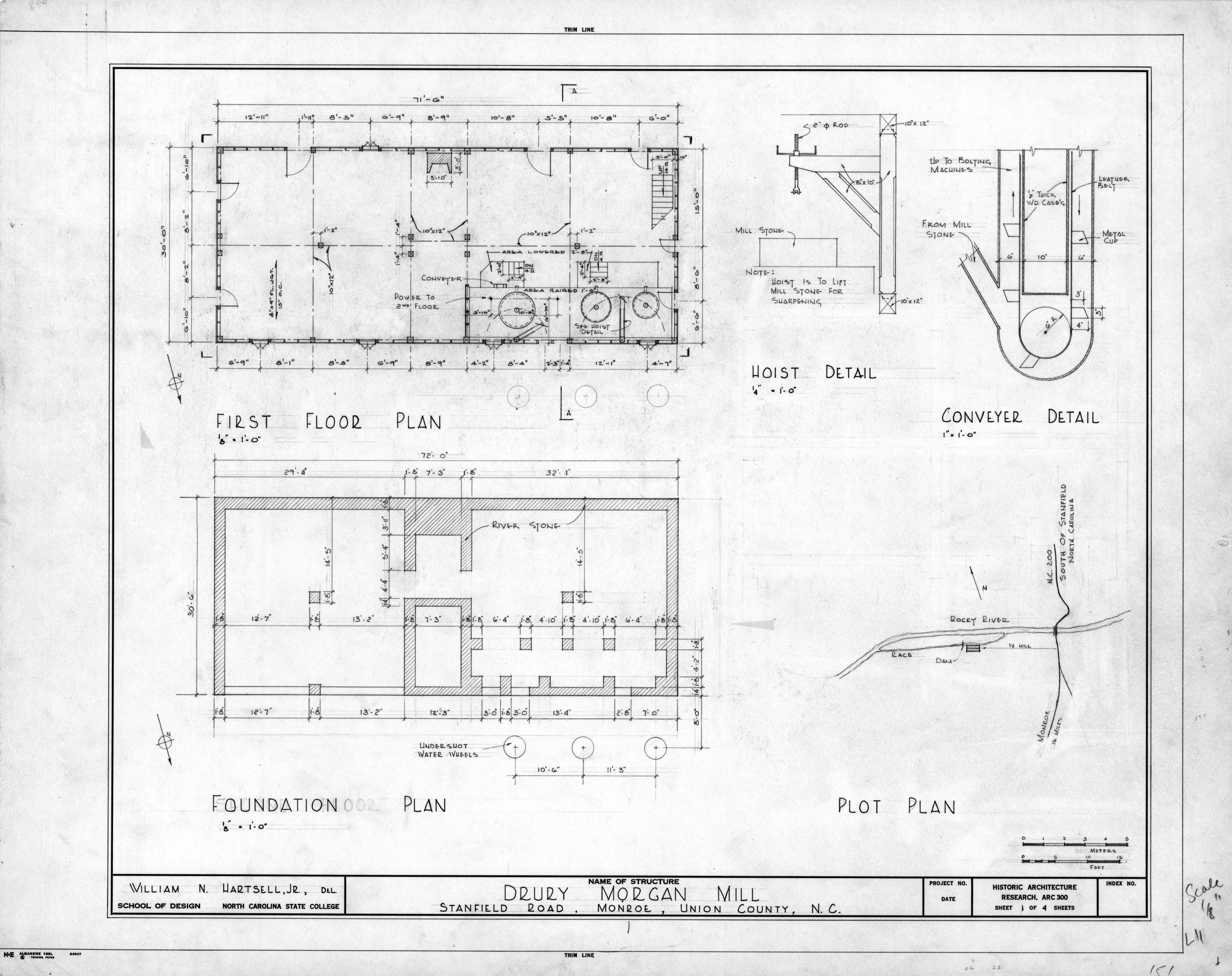 Floor plan foundation plan site plan and detail drury for Foundation blueprints