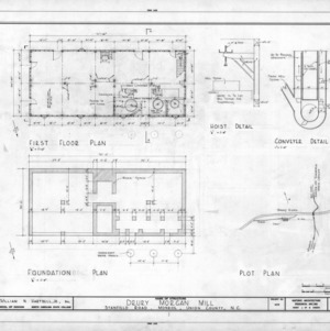 Floor plan, foundation plan, site plan, and detail, Drury Morgan Mill, Union County, North Carolina