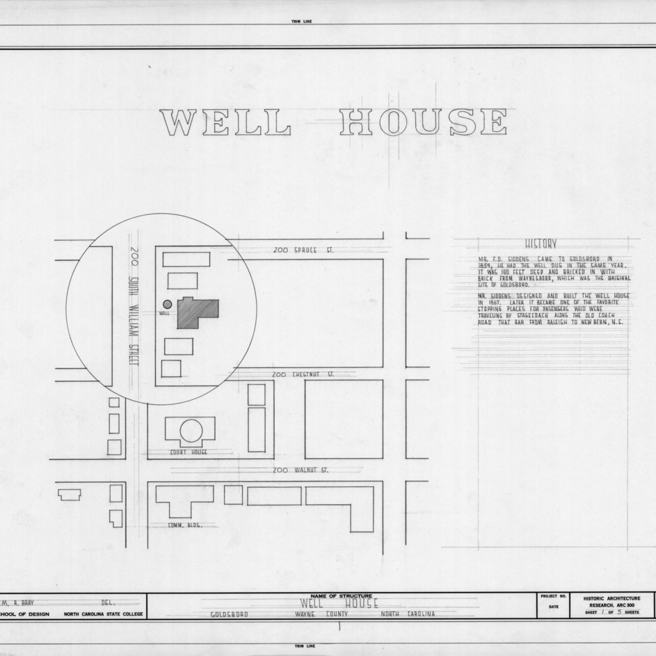 Title page with notes and site plan, F. D. Giddens Well House, Goldsboro, North Carolina