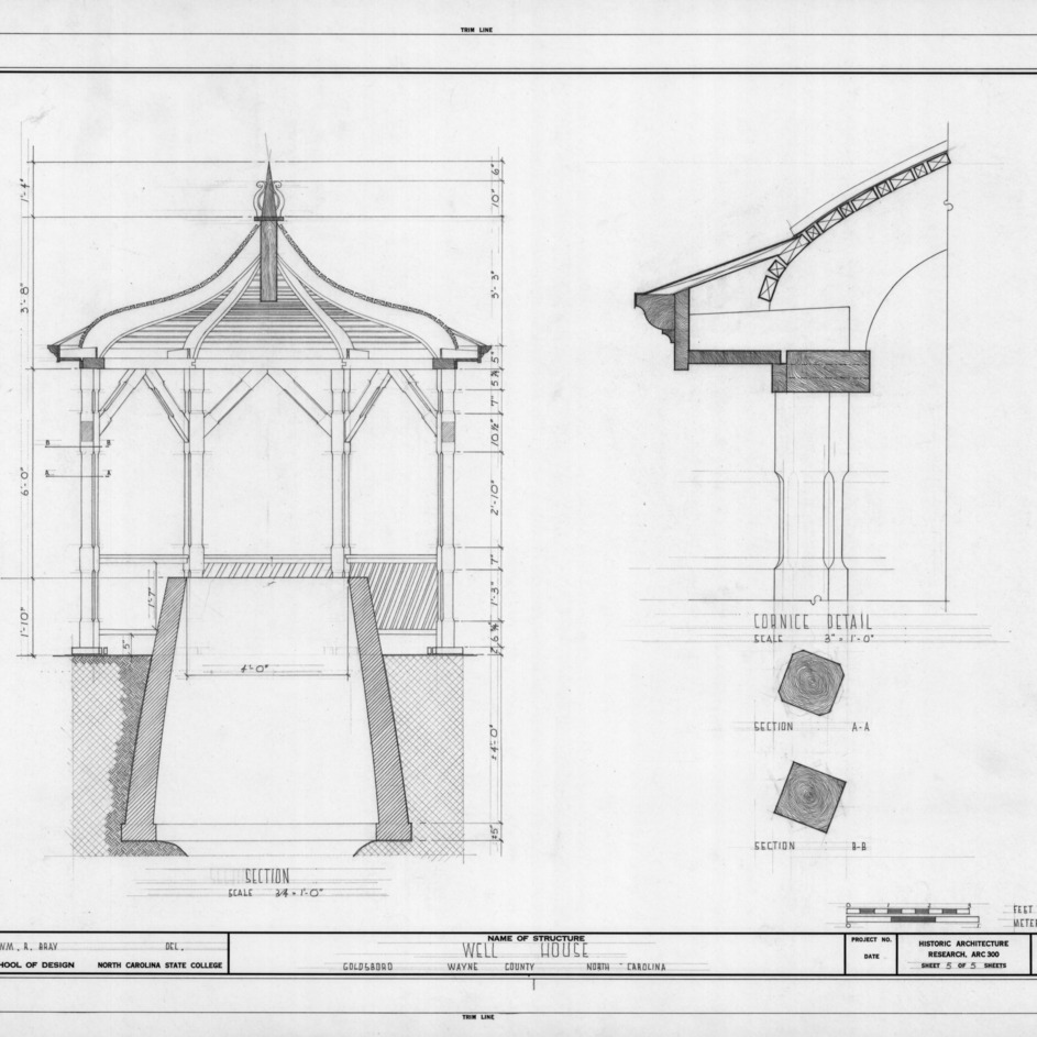 Section and details, F. D. Giddens Well House, Goldsboro, North Carolina