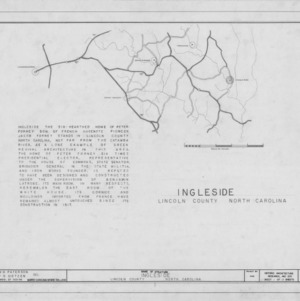 Title page with location map and notes, Ingleside, Lincoln County, North Carolina