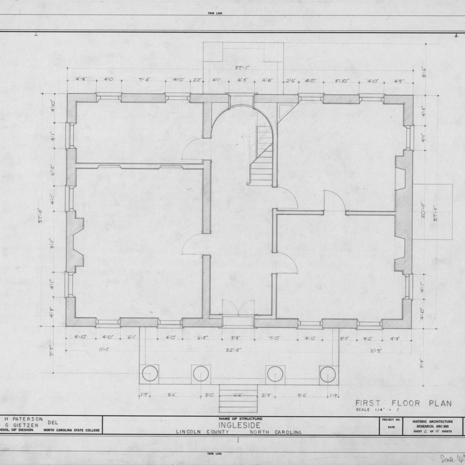 First floor plan, Ingleside, Lincoln County, North Carolina