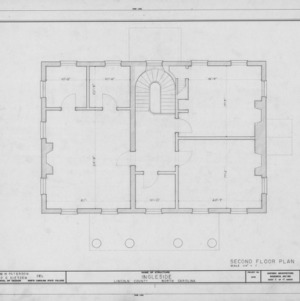 Second floor plan, Ingleside, Lincoln County, North Carolina
