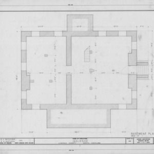 Basement plan, Ingleside, Lincoln County, North Carolina
