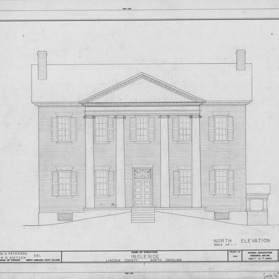 North elevation, Ingleside, Lincoln County, North Carolina