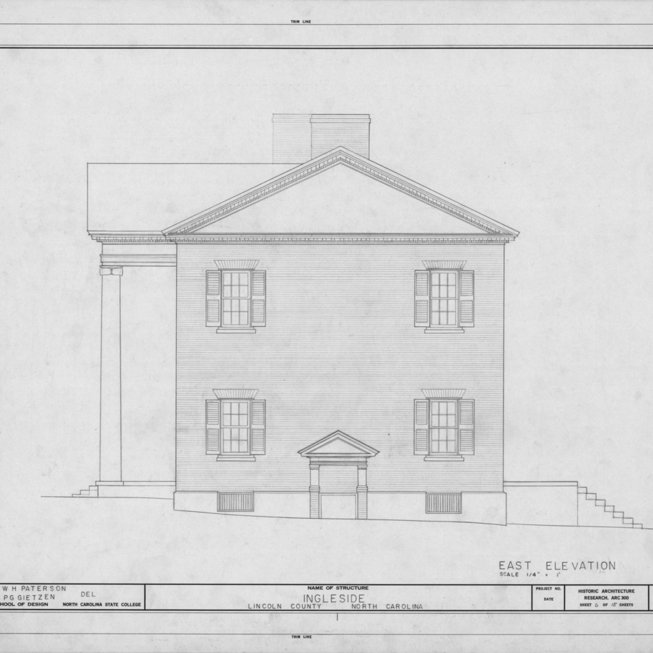 East elevation, Ingleside, Lincoln County, North Carolina