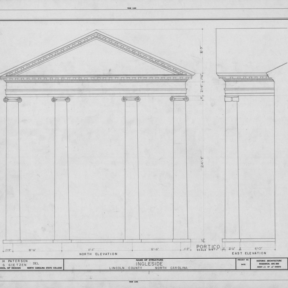 Portico elevations, Ingleside, Lincoln County, North Carolina