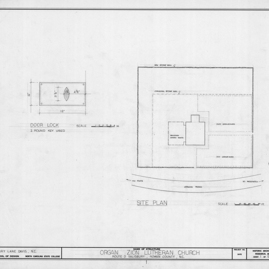 Site plan and door lock detail, Zion (Organ) Lutheran Church, Rowan County, North Carolina