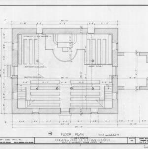 Floor plan, Zion (Organ) Lutheran Church, Rowan County, North Carolina