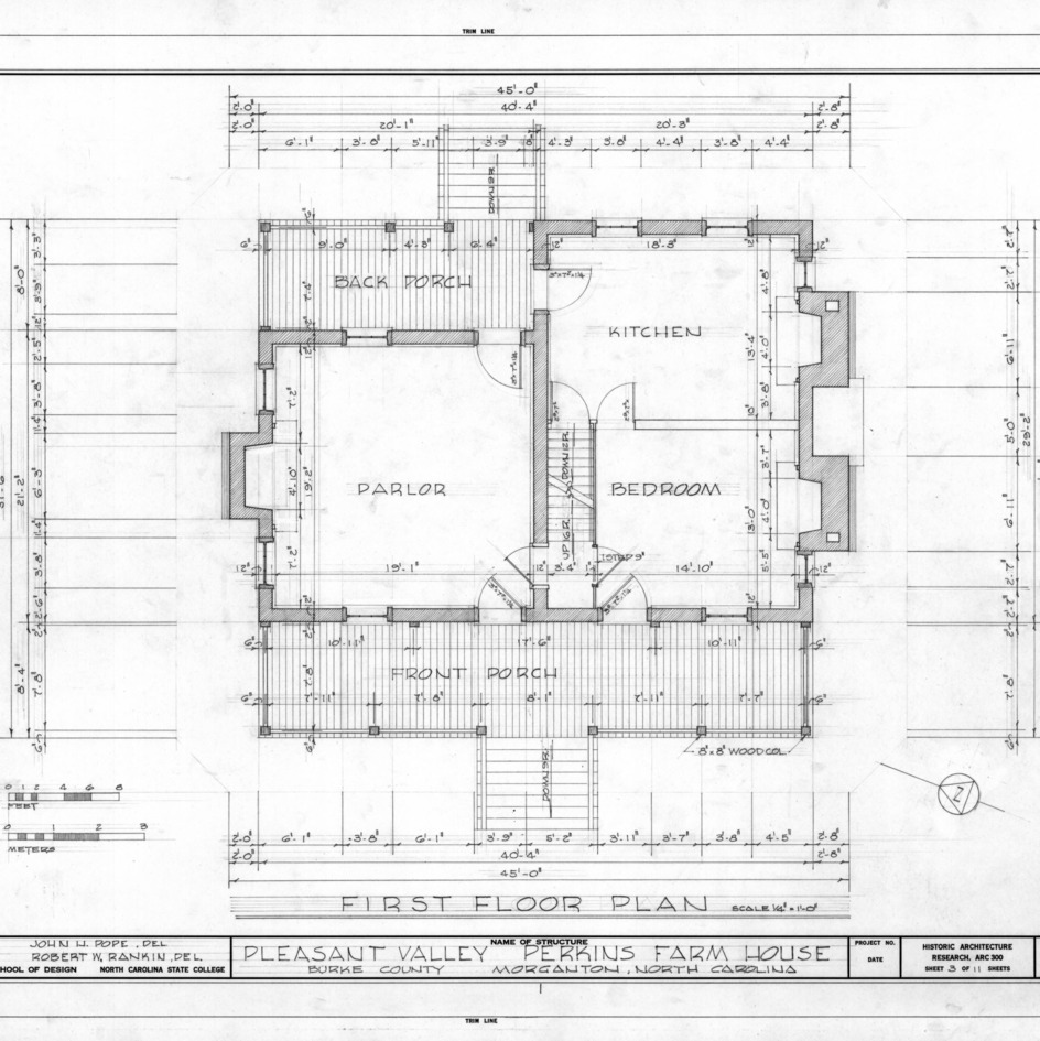 First floor plan, Pleasant Valley, Morganton, North Carolina