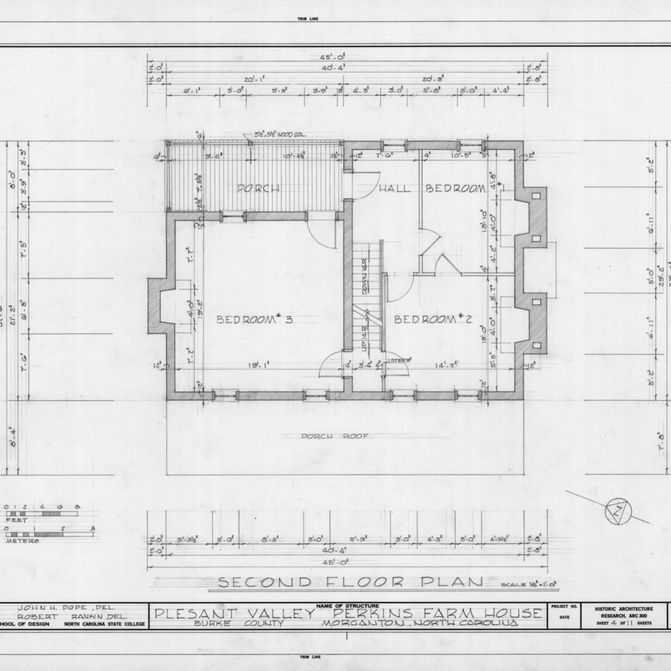 Second floor plan, Pleasant Valley, Morganton, North Carolina