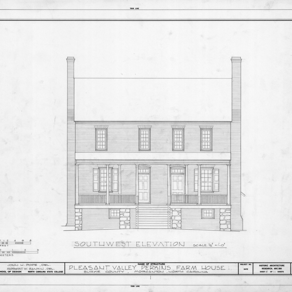 Southwest elevation, Pleasant Valley, Morganton, North Carolina