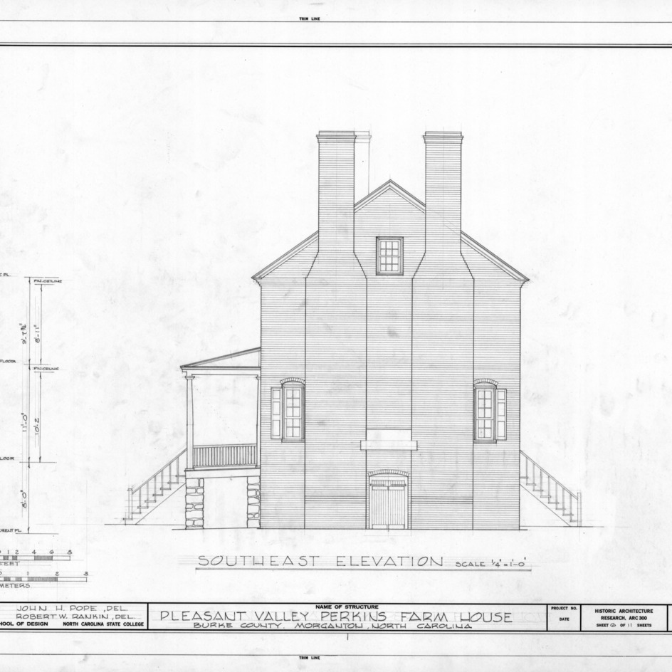Southeast elevation, Pleasant Valley, Morganton, North Carolina