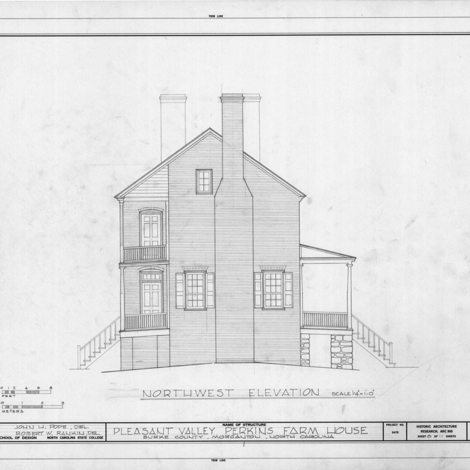 Northwest elevation, Pleasant Valley, Morganton, North Carolina
