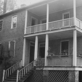 View with porches, Pleasant Valley, Morganton, North Carolina