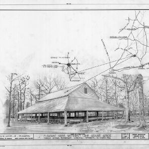 Location map and rendering, Pleasant Grove Camp Meeting Ground, Union County, North Carolina