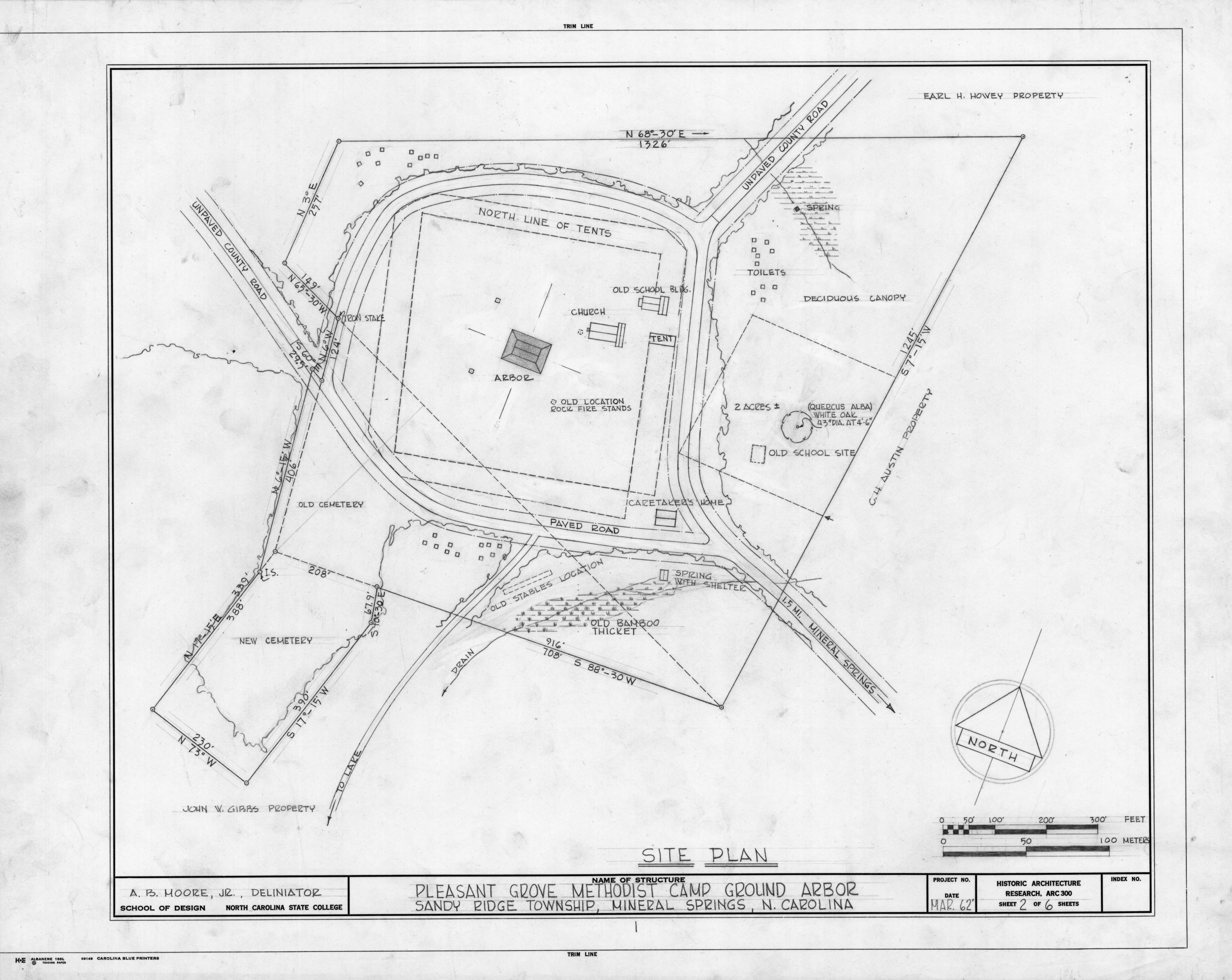 Site plan, Pleasant Grove Camp Meeting Ground, Union