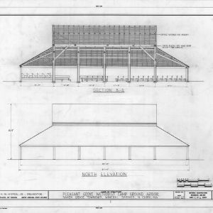 Longitudinal section and north elevation, Pleasant Grove Camp Meeting Ground, Union County, North Carolina