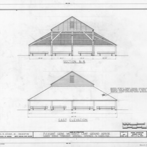 Cross section and east elevation, Pleasant Grove Camp Meeting Ground, Union County, North Carolina