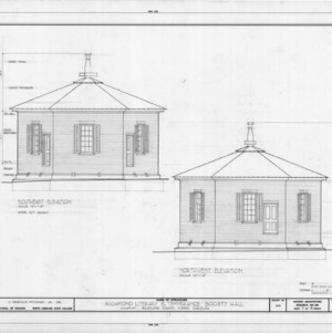Southeast and northwest elevations, Richmond Temperance and Literary Society Hall, Scotland County, North Carolina