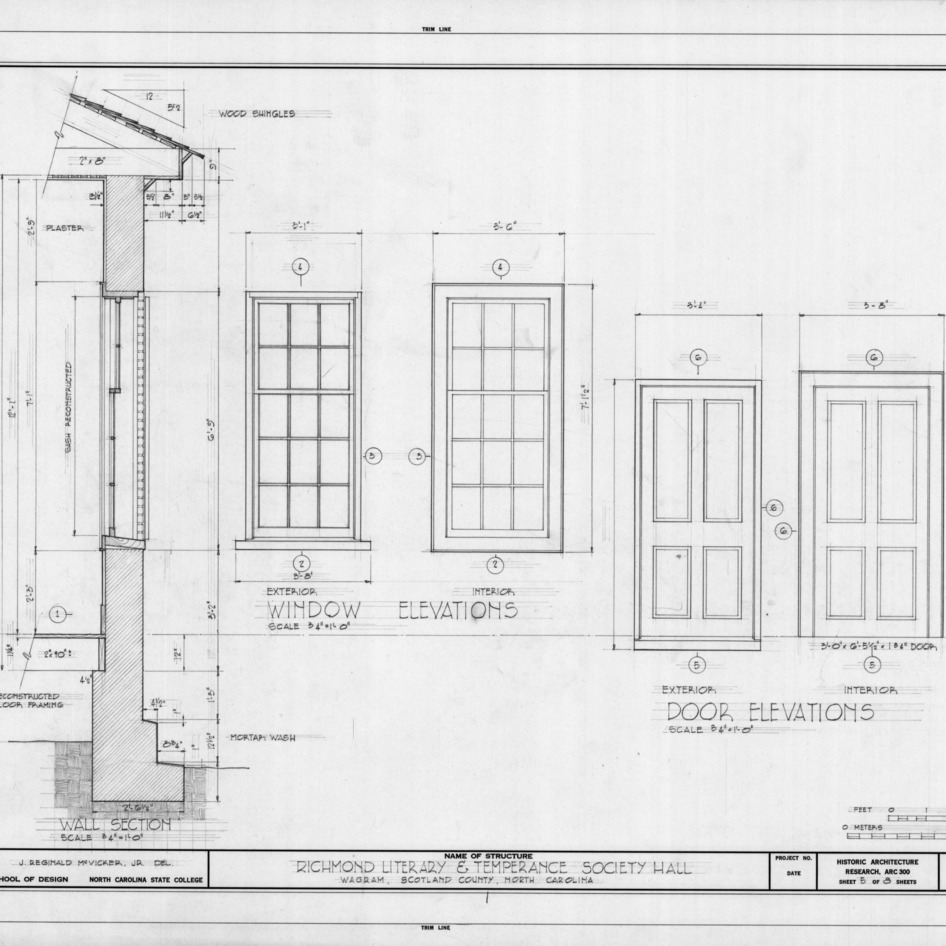 Door and window elevations, Richmond Temperance and Literary Society Hall, Scotland County, North Carolina