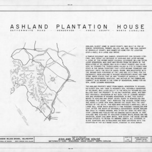 Title page with notes and location map, Ashland, Vance County, North Carolina