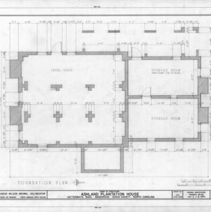 Foundation plan, Ashland, Vance County, North Carolina
