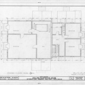 Second floor plan, Ashland, Vance County, North Carolina