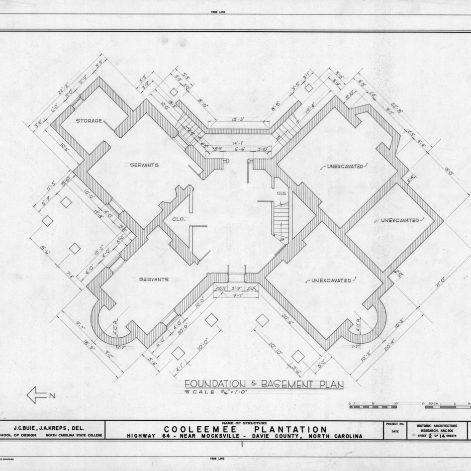 Foundation and basement plan, Cooleemee Plantation, Davie County, North Carolina