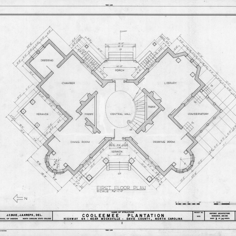 First floor plan, Cooleemee Plantation, Davie County, North Carolina