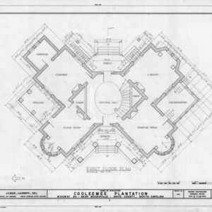 First floor plan, Cooleemee Plantation, Davie County, North Carolina