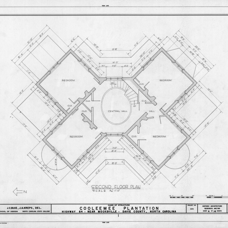 Second floor plan, Cooleemee Plantation, Davie County, North Carolina