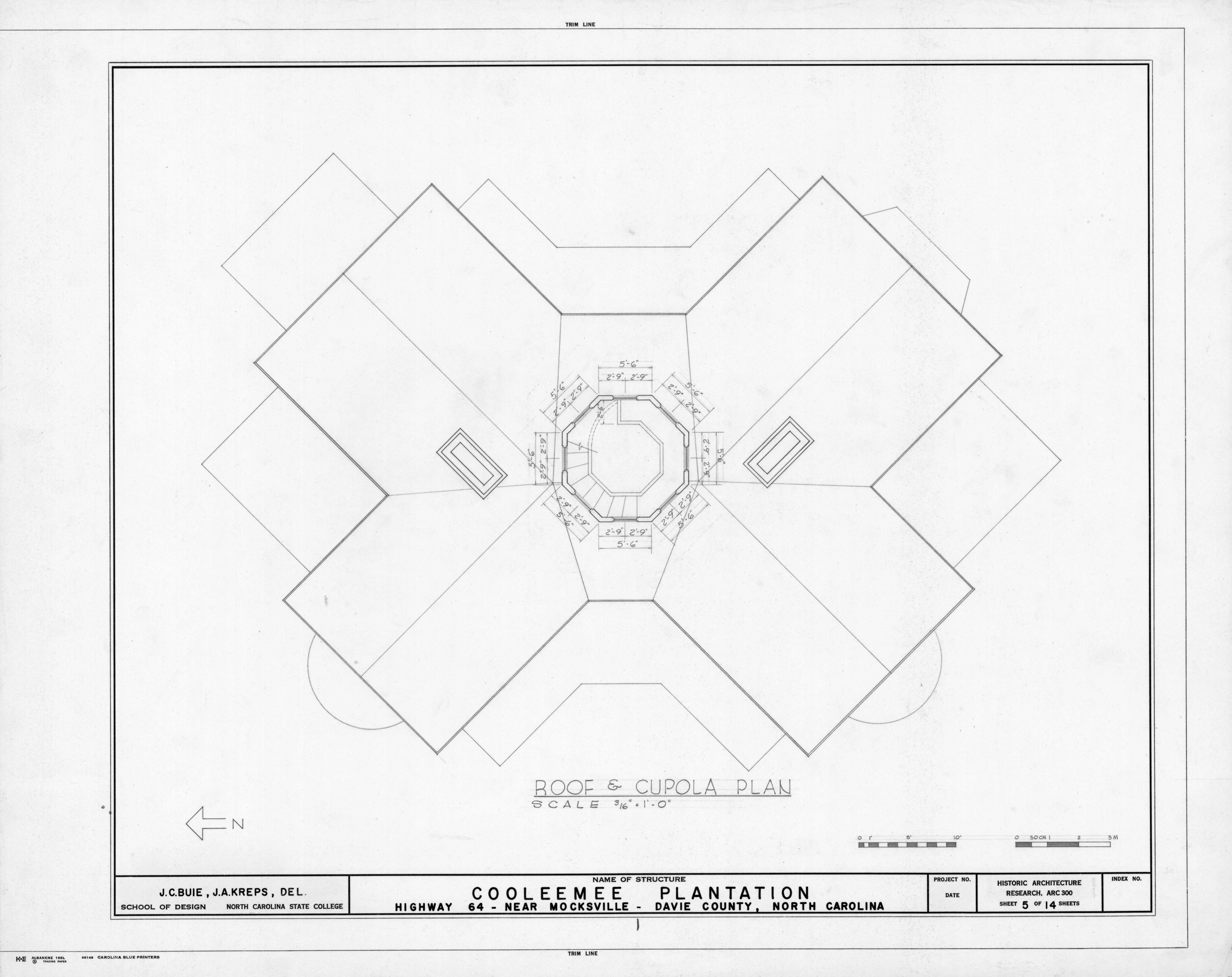 Roof And Cupola Plan Cooleemee Plantation Davie County