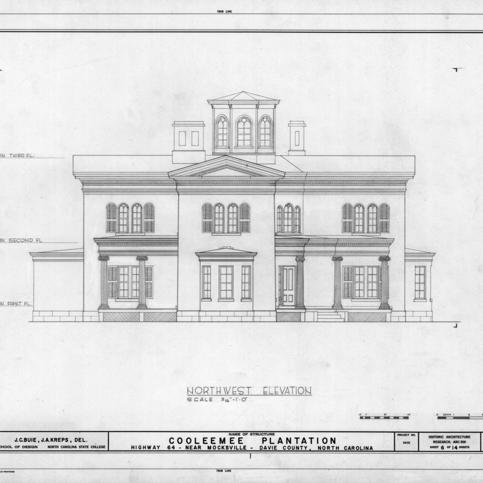 Northwest elevation, Cooleemee Plantation, Davie County, North Carolina