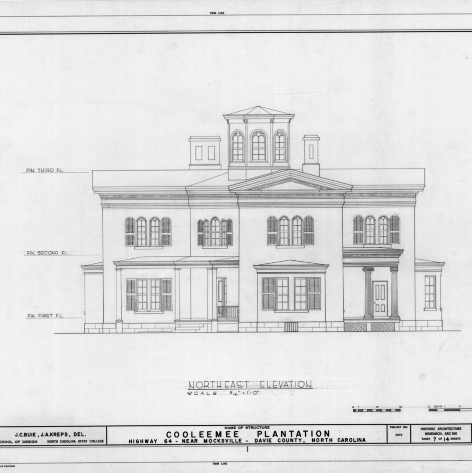 Northeast elevation, Cooleemee Plantation, Davie County, North Carolina