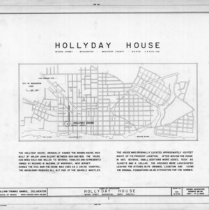 Title page with notes and site plan, Hollyday House, Washington, North Carolina