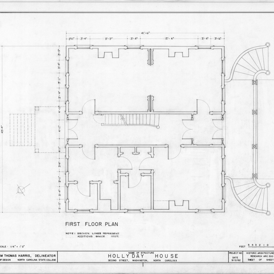 First floor plan, Hollyday House, Washington, North Carolina