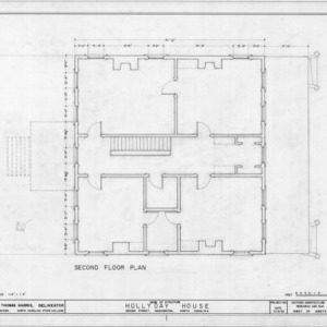 Second floor plan, Hollyday House, Washington, North Carolina