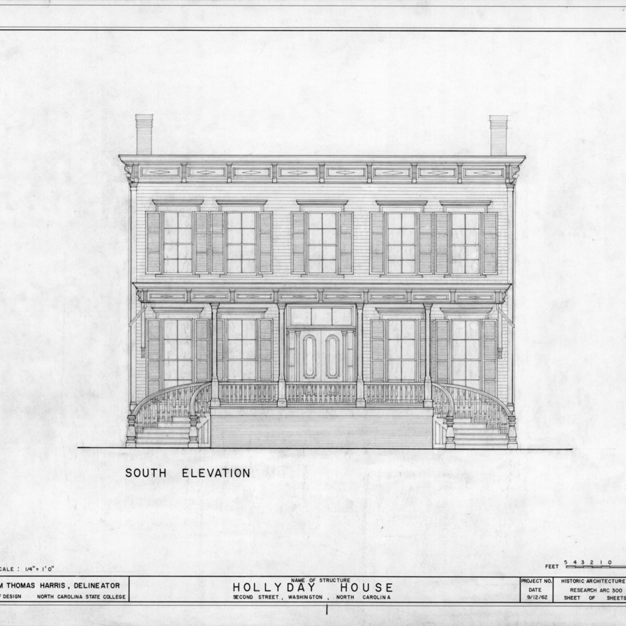 South elevation, Hollyday House, Washington, North Carolina