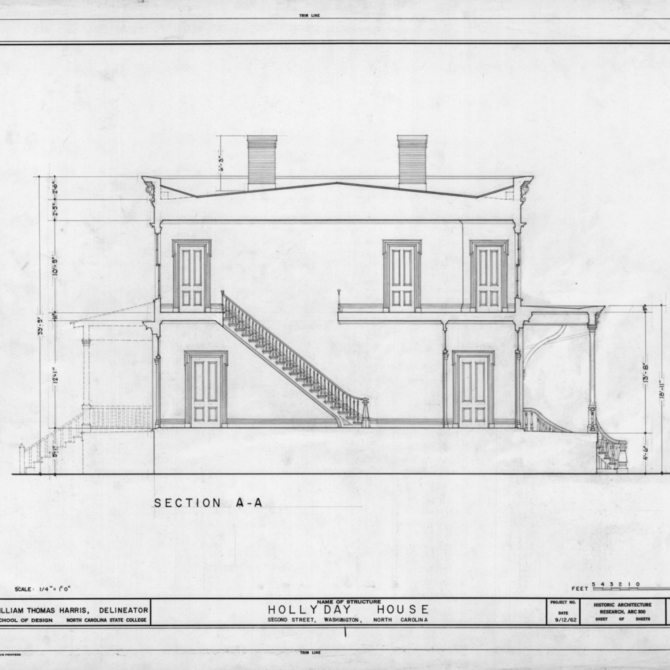 Longitudinal section, Hollyday House, Washington, North Carolina